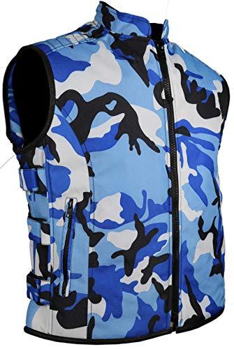MDM Herren Textil Bikerweste in Camouflage Blau
