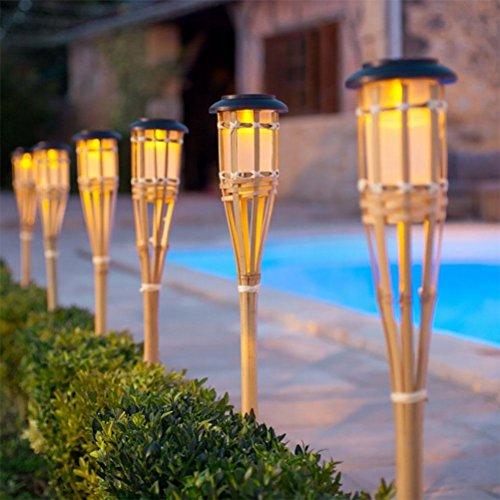 OOFWY Lumière solaire intelligente de contrôle de lumière de LED Lumières de jardin de torche de bambou, 6PCS