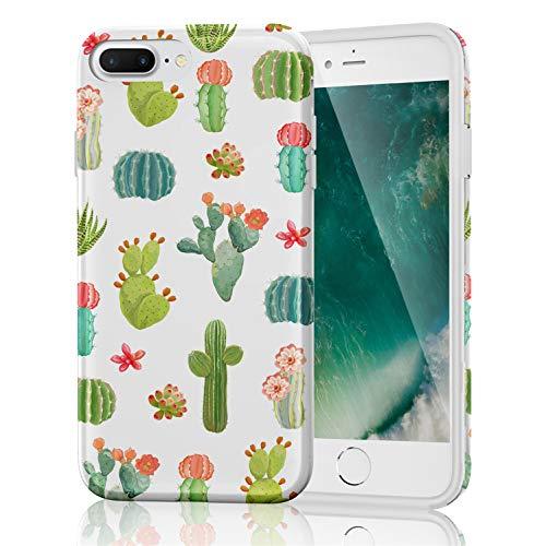 ZQ-Link Cover iPhone 8 Plus/7 Plus, Disegni Morbido Antiurto Cartoon Gel Custodia Bumper Case in TPU Silicone - Disegni Fiori Cactus Colorati