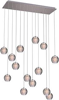 KJLARS Iluminación colgante LED contemporáneas Lámparas de araña Candelabros en altura adecuados para sala de estar Mesa de comedor Escalera Dormitorio Lámparas de techo colgante 14 luces-rectángulo