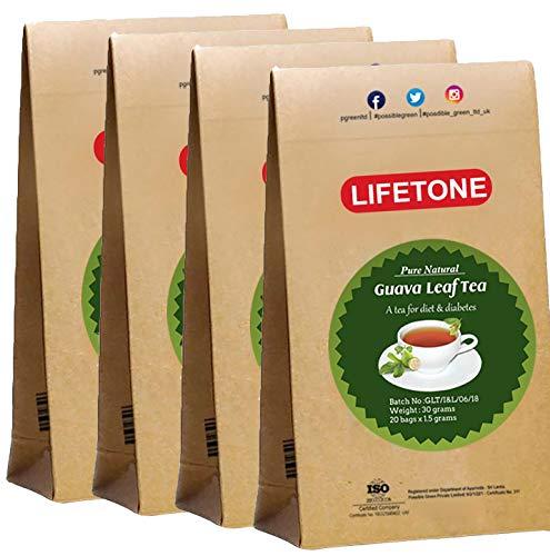 lifetone the tea for better life, Té verde de hoja de guayaba | Procedente de Trópico | 80 bolsitas de té | Té de desintoxicación | Té diabético