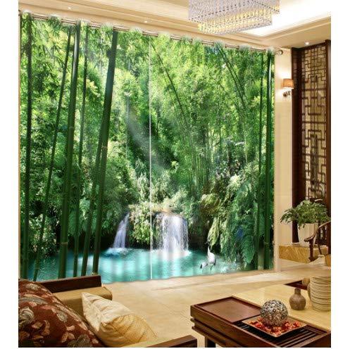 chinawh Grüner Vorhang natürliche persönlichkeit Stil Gasse Fotodruck 3D Vorhang mediterraner gartentür Bambus Vorhang breite 350cm hoch 250cm