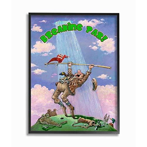 Stupell Industries Breaking Par Funny Golf Cartoon Sports Black Framed Wall Art, 11 x 14, Design by Artist Gary Patterson