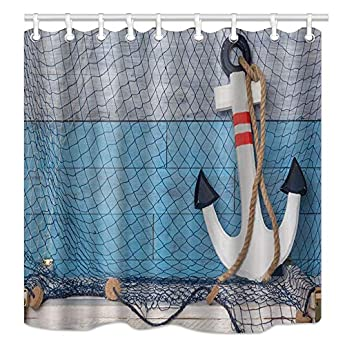 Shower Curtain Decor Set Boat Anchor with Rope Blue Stripes Art Design Curtains