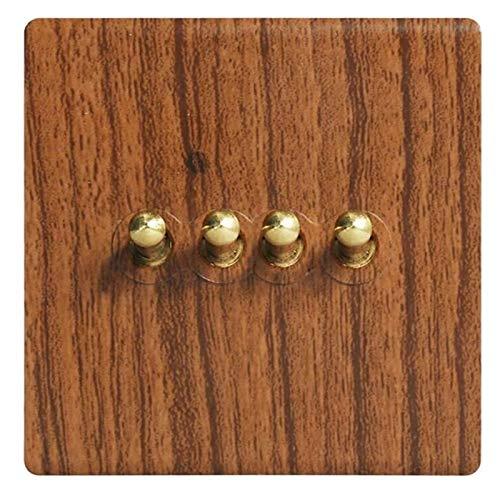 Antiguo grano de leña de latón palanca de palanca interruptor de moda tipo europeo 86 panel de interruptor de pared de la pared imitación de madera sólida retro soltero o doble control de luz interior