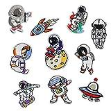 10 parches de bordado de astronauta, parches de costura de bricolaje, decoración de parche de ropa, utilizados para coser apliques decoración de bricolaje ropa, jeans, mochilas, sombreros