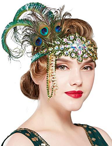 Coucoland 1920s Hoofdband veer met strass en parels troddel dames jaren 20 stijl flapper Charleston haarband Great Gatsby dames carnaval kostuum accessoires