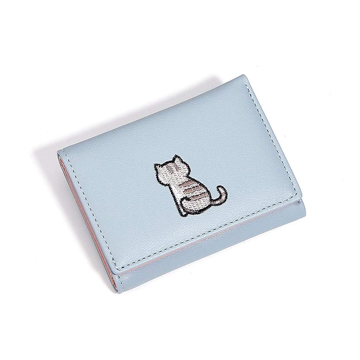 楽観的リンクホール財布 三つ折り レディース シンプル ミニ 可愛い 猫柄 おしゃれ ウォレット 小銭入れ カード入れ 札入れ 誕生日 感謝の日 学生 グリーン ブルー ブラック ピンク グレー シルバー