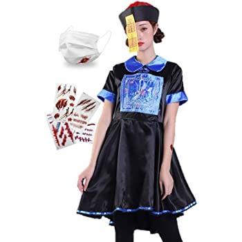 【映える】 キョンシーガール キョンシー コスプレ ハロウィン 仮装 コスチューム 大人 レディース 女性 マスク10枚+傷タトゥーシール1枚付き(M)