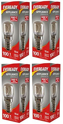 Eveready - Bombilla para horno (4 unidades, 15 W, 100 lúmenes, 240 V, resistente al calor)