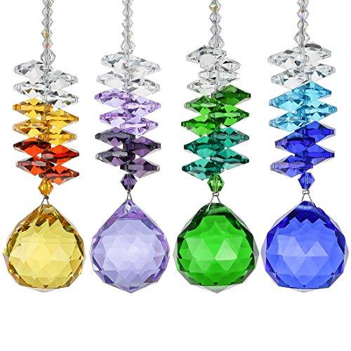 H&D 30 mm Lustre Boule de Cristal Prismes Rainbow Octagon Perles Chakra Attrape-soleil Home Windows Décor, Lot de 4