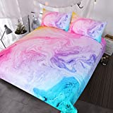 BlessLiving Tie Dye Bed Set Colorful Marble Teen Girl Bedding Watercolor Pastel Pink Blue Purple Duvet Cover Set Marble Abstract Kids Bed Set 3 Piece Bright Girly Bedspreads (Twin)
