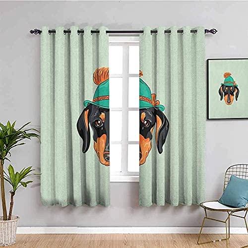 LWXBJX Opacas Cortinas Dormitorio - Verde Perro Dibujos Animados Lindo - Impresión 3D Aislantes de Frío y Calor 90% Opacas Cortinas - 200 x 160 cm - Salon Cocina Habitacion Niño Moderna Decorativa