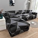 Fundas de sofá elásticas Impresas para Sala de Estar Funda de sofá Esquina en Forma de L Chaise Longue Sillón Sofá Funda A13 2 plazas