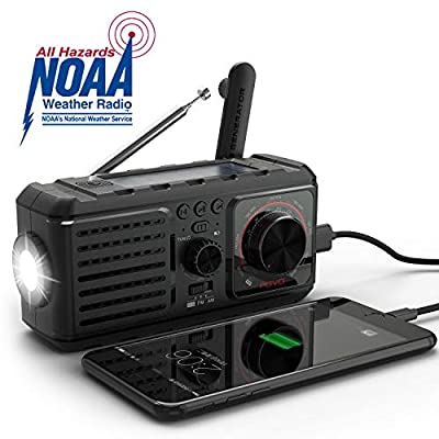 Emergency Radio, Survival Hand Crank Self Powered AM FM NOAA Weather Station SOS Alarm Radio Kits with LED Flashlights Music 2200mAh Solar Portable Charger for Camping Supplies Disaster Preparedness