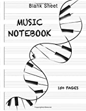 Blank Sheet Music Notebook Piano DNA: Wide Staff Manuscript Paper Notebook For Kids: 6 Large Staves Per Page (8.5