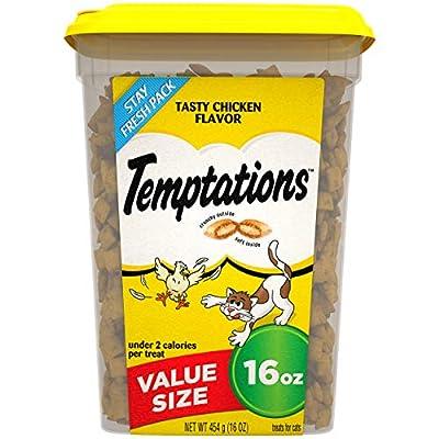 TEMPTATIONS Classic Crunchy and Soft Cat Treats Tasty Chicken Flavor, 16 oz. Tub