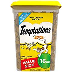 Contains (1) 16 ounce tub of Temptations classic treats for cats tasty chicken flavor Temptations cat treats are 100% nutritionally complete and balanced for adult cat maintenance This irresistible cat treat has a unique pocket shape that is crunchy ...