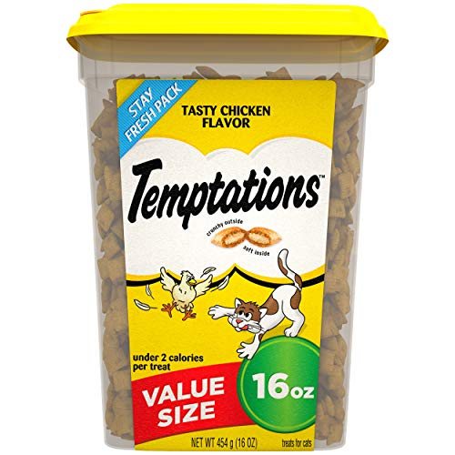 TEMPTATIONS Classic Treats for Cats Tasty Chicken Flavor, 16 oz. Tub