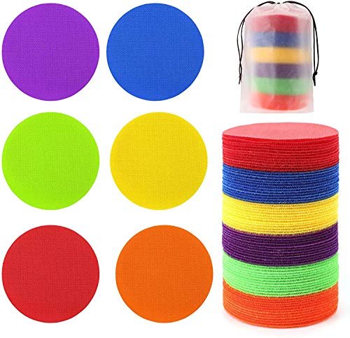 48 Pcs Carpet Standing Dot Spot Carpet Spots for Classroom, Carpet Sitting Dot Spot Markers with Hook and Loop Adhesion, Colorful Carpet Circles Floor Dots, Ideal for Kindergarten and School
