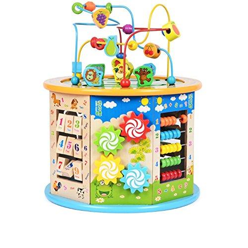 Jouets FEI Grand 8 en 1 Perle Maze Cube First Toddlers Apprentissage en Bois activité Centre éducatifs pour Babys Enfants Début Éducation