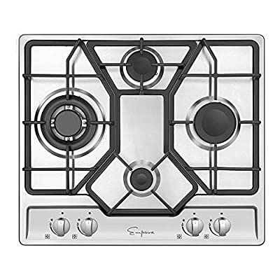"""Empava 24"""" Gas Cooktop with 4 Italy Sabaf Sealed Burners NG/LPG Convertible in Stainless Steel Model 2020, 24 Inch"""