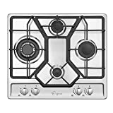 Empava 24' Gas Cooktop with 4 Italy Sabaf Sealed Burners NG/LPG Convertible in Stainless Steel Model 2020, 24 Inch