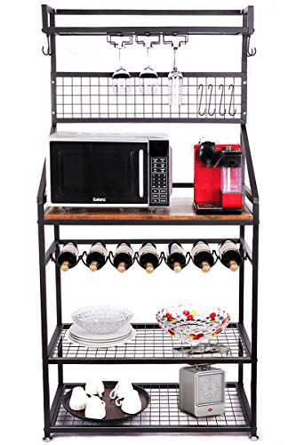 INFANZIA Upgrade Multiuse 5-Tier Kitchen Bakers Rack Cupboard with Wine Storage, Microwave Oven Stand, Stemware Holder and Storage Hooks,Mesh Panel, for Cooking Utensils, Industrial, Rustic Brown