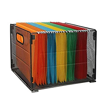 Samstar Hanging File Box Mesh Metal File Organizer Box Hanging File Crate Folder Holder Storage Box Letter Size Black