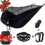 Hamac Moustiquaire de Voyage Camping 2 Personnes Hamac 300KG, Léger 300 x 180 cm Respirante à Parachute Hamac, Portable pour...