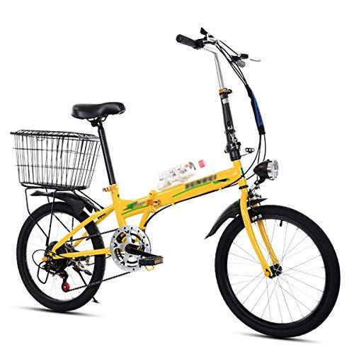 NQCT Klappfahrrad 20-Zoll-Klappfahrräder für Erwachsene Ultraleichtes tragbares Fahrrad zur Arbeit Schule pendelt schnell klappbare Fahrräder,Gelb