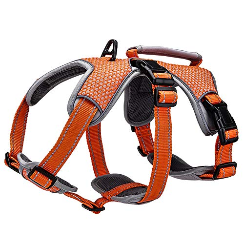 BELPRO Multi-Use Support Dog Harness, Escape Proof No Pull Reflective Adjustable Vest with Durable Handle, Dog Walking Harness for Big/Active Dogs (Orange, XL)