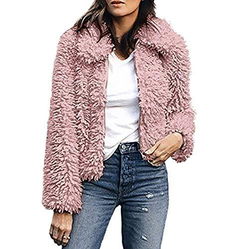 Xmiral Damen Mantel Frauen Warme Künstliche Wolle Reine Farbe Revers Jacke Winter Parka Oberbekleidung (XL,Rosa)