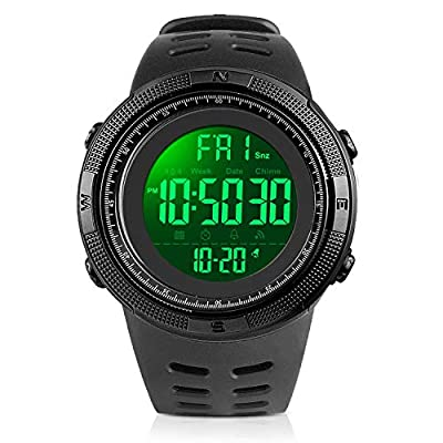 YEENIK Men's Digital Watch, Led Military 50M Waterproof Sports Watches for Men, Electronic Hand Wrist Watch with Alarm Stopwatch Dual Time Zone Count Down EL Backlight Calendar Date for Men - Black