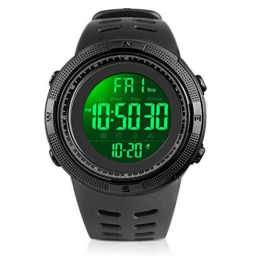 SKMEI uomo sport digitale elettronico impermeabile orologio da polso allarme cronografo calendar- tutto nero