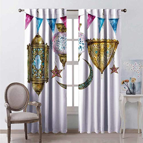Irene Rossetti Lantern Heat insulation curtain Traditional Arabic Lanterns Star Moon Shapes Original Oriental Design For living room or bedroom W63 x L63 Inch Yellow Pink Blue
