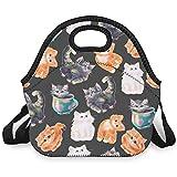 Bolsa isotérmica con diseño de gato, con cremallera, resistente a la humedad, ideal para oficinas y escuelas, color blanco, talla única