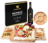 ViralCity Bamboo Cheese Board and Knife Set, Snack Tray Included, 13.8 x 13 x 1.6 Inch Wood...