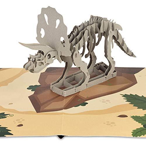 """PaperCrush® Pop-Up Karte Dinosaurier """"Triceratops"""" [NEU!] - 3D Kinder Geburtstagskarte für Jungen, Dino Glückwunschkarte als Mitgebsel zum Kindergeburtstag (z.B. 3 Jahre), 3D Kindergeburtstagskarte"""
