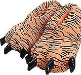 QAQA Invierno Divertido de Animales de Pata Zapatillas de Felpa Traje de la Garra de los Zapatos de los Zapatos caseros (Color : Tiger, Size : L)