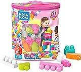 Mega Bloks Juego de construcciones 80 piezas con bolsa ecológica rosa, juguete bebé +1 año (Mattel DCH62)