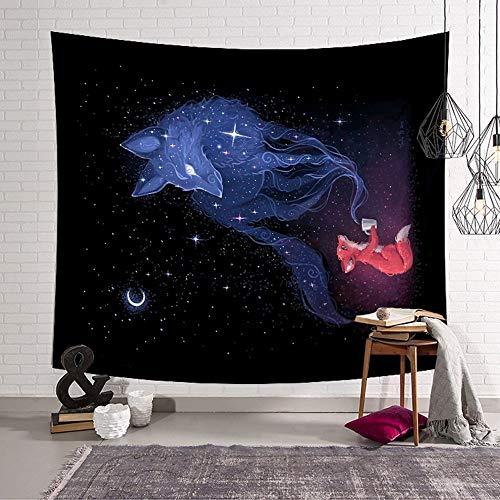 Tapestry Wall Hanging,Cartoon Fox Im Universum An Der Wand Hängend, Psychedelischen Böhmischen Galaxy Raum Tapeten, Tapeten Mit Kunst Home Dekorationen Für Wohnzimmer Schlafzimmer, 150*230 Cm