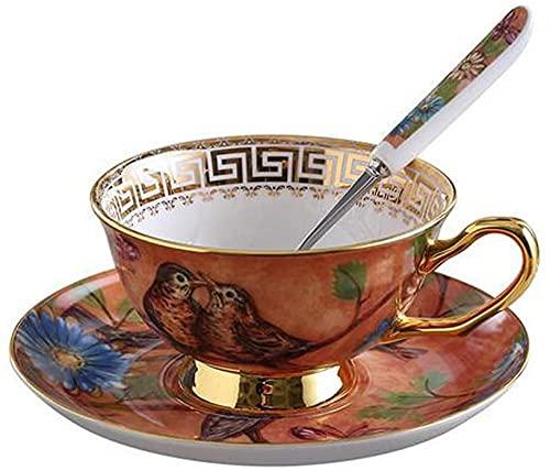 ZJZ Taza de té Estilo Europeo y Juego de platillo Art Bone China Taza de café de té de cerámica para el Desayuno, Cocina casera, Naranja