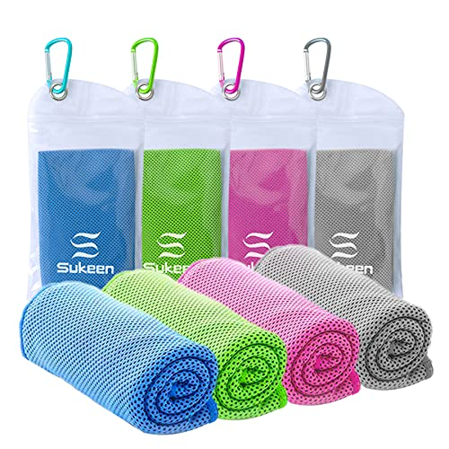 """[4 Pack] Cooling Towel (40""""x12""""), Ice Towel, Soft Breathable Chilly Towel, Microfiber Towel for Yoga, Sport, Running, Gym, Workout,Camping, Fitness, Workout & More Activities - Kuen"""