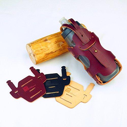 L+T construct Bottle Cage for Brompton - Glam Serial Bottle Holder y Chair Mount Pad Bundle - Hecho a Mano en Italia de Cuero Genuino con anilinaWine RedColor Jaula y Wine Red Color Pad