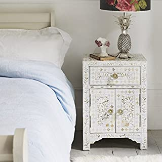 Classic Mother of Pearl Inlay Side Table in White