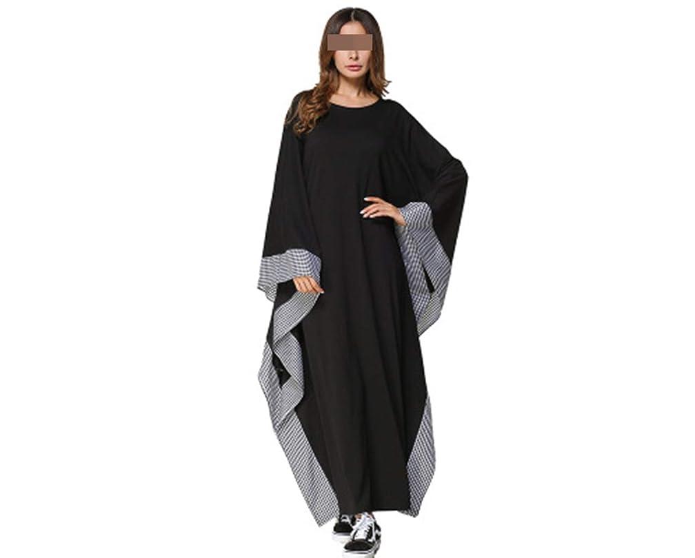 信じる海外でプーノヨーロッパとアメリカのラウンドネックルーズステッチソリッドカラーのチェック柄レースバットスリーブドレス (Color : Black, Size : M)