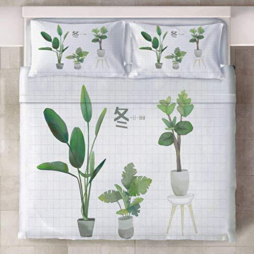 IJBSDJI Bettdecke 200x200cm Grüne Topfpflanzen,Superweicher Mit Reißverschluss Microfaser Bettbezug Bettwäsche Set Mit 2 Kissenbezug