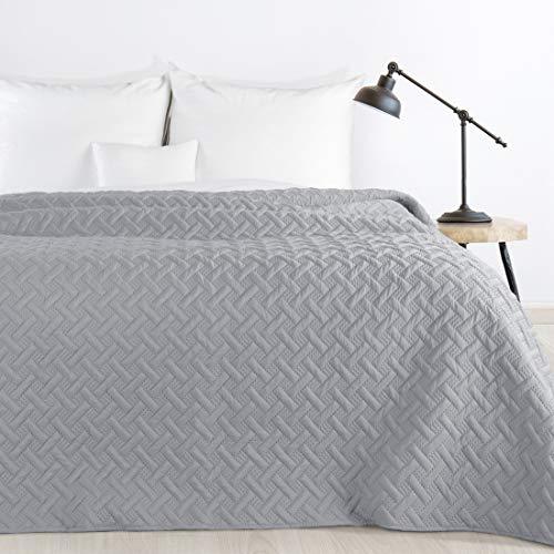 Design91 Tagesdecke Alara Gesteppter Bettüberwurf Einfarbig Steppung 3D Geometrisches Muster Ganzjährig (Stahl, 220 x 240 cm)
