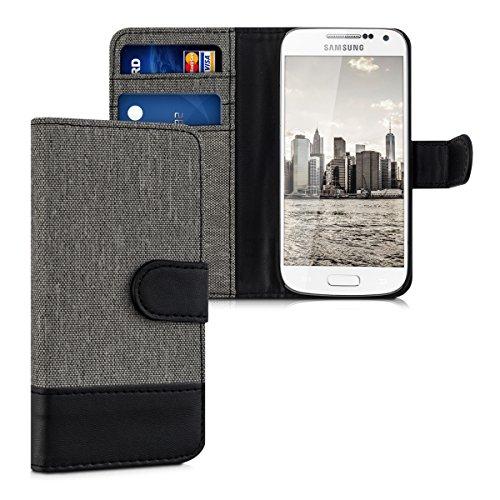 kwmobile Samsung Galaxy S4 Mini Hülle - Kunstleder Wallet Case für Samsung Galaxy S4 Mini mit Kartenfächern & Stand - Grau Schwarz